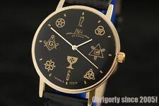 Rare Gold plated ultra slim wrist watch Masonic dial World Government LUXURY NOS