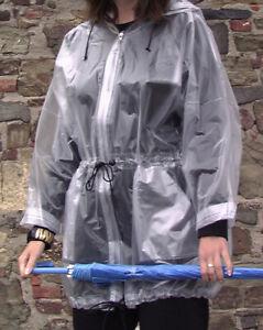 Regenjacke PVC plastic rain jacket rain coat milchig transparent L