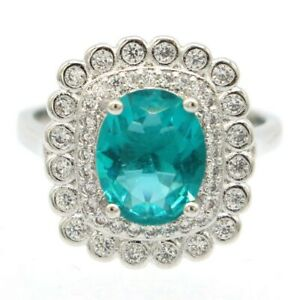 Fancy Rich Blue Aquamarine White CZ Gift For Mother Silver Ring 7.5