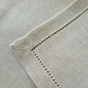 """CASTELLO Masters of Linen Hemstitched Placemat 14 x 20"""" -  100% Linen Natural"""