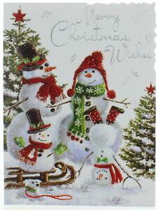"Jonny Javelin Open Christmas Card - Snowmen with Glitter Silver Foil 7.25x5.5"""