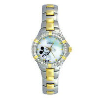 Disney Mickey Mouse Watch w/stone Accent Mother-of-Pearl Dial & GT & ST Link B