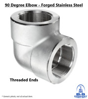 """90 Degree Elbow 1-1/4"""" 3000# Forged Stainless Steel 316 Threaded Pipe Fitting"""