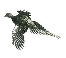 Large Pheasant Scarf Ring, Handmade in England from Fine English Pewter. Brooch