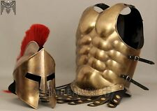MUSCLE ARMOR & 300 MOVIE HELMET BRASS FINISH COLLECTIBLE HALLOWEEN COST
