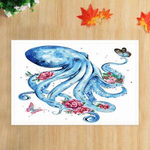 Blue Octopus & Spring Flowers Bath Mat Flannel Rug Anti-slip Floor Mat Door Mat