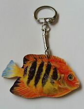 Wooden Flame Angel Fish key ring keychain Hand made in UK New