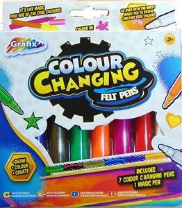 GRAFIX Colour Changing Felt Pens - Pack of 8 -1 MAGIC PEN ARTS/CRAFTS FOR 3+