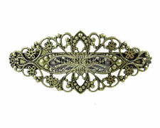 2 pieces Antique Brass Filigree Floral French Hair Barrette Clips Jewelry C83
