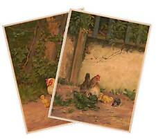 Set of Two (2) POULTRY PIN-UP ART Prints circa 1917 Chickens Hens Rooster 18x24