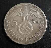 WW2 GERMAN COMMEMORATIVE COIN 5 MARK 1938 HINDENBURG
