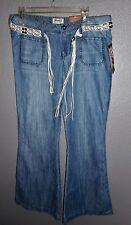 "MUDD Junior Women's Jeans, Size 13 (34"" X 30""), Macrame Beaded Rope Belt  NWT"