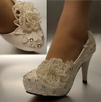 """White ivory lace beads flowers Wedding shoes Bridal 3"""" 4"""" heels pumps size 5-11"""