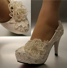 "3 / 4"" white ivory pearl lace crystal Wedding shoes Bridal heels pumps size 5-11"