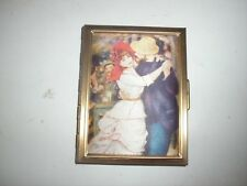 VINTAGE METAL CASE PHOTO ALBUM HOLDER WITH CLOTH PADDED COVER - MAN & WOMAN