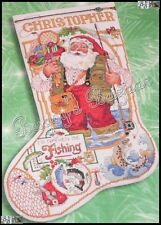 Bucilla FISHING SANTA STOCKING Counted Cross Stitch Christmas Kit - L/R - Gillum