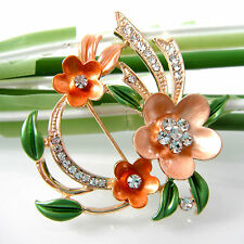 Navachi Blooming Flower 18K GP Orange Colorful Enamel Crystal Brooch Pin BH8039