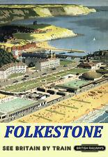 Art Ad Folkestone British Railways  Train Rail Travel  Poster Print