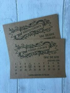x10 Save the Date Wedding Cards, Personalised a6, brown kraft card