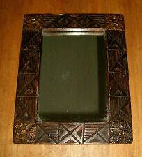 Primitive Carved Wood w/ Bronze Metal Accents Framed Mirror Handcrafted In Ghana