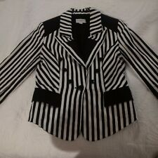 Queenspark Blazer black and white suit jacket size 6 3/4 sleeve