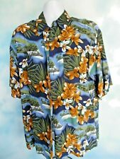 Hana Bay Men's Hawaiian Casual Shirt 100% Rayon Machine Washable Size L