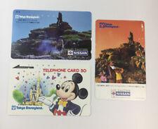 Tokyo Disneyland Vintage Phone Cards Used Lot Of 3 - (7230)