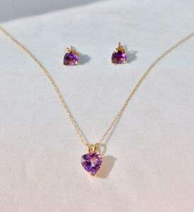 10K SOLID GOLD NATURAL AMETHYST HEART NECKLACE - PENDANT & EARRINGS STUDS SET