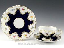 Echt Weimar Kobalt Germany COBALT BLUE & GOLD GILD Tea Cup Saucer Plate Trio Set
