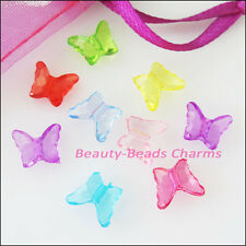 70Pcs Mixed Plastic Acrylic Tiny Butterfly Spacer Beads Charms 8x10mm