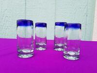 Hand Blown Shot Glasses Cobalt Set of 4 ***$2.99 Flat Rate Shipping***