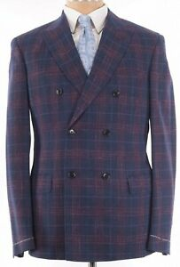 Luciano Barbera NWT Sport Coat Size 40R In Blue Red Plaid Double Breasted $1,795