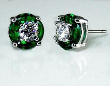 Emerald Green Clear CZ Post Earrings Halo Silver Rhodium Brass Petite Sparkling
