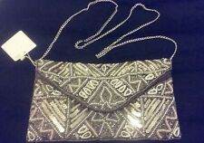 New Look embellished beaded satin evening bag brown bronze silver nude sequins