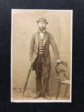 Victorian Carte De Visite CDV: Unknown Gentleman: Posing Stand Umbrella