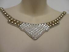 "10""  Gold Studs and Crystal Rhinestones Neckline Iron-on Applique - STUNNING!!"