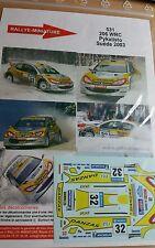 DECALS 1/24 REF 531 PEUGEOT 206 WRC PYKALISTO RALLYE SUEDE 2003 SWEDISH RALLY