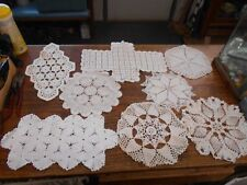 8 vintage white hand crochet crocheted doilies pineapples and more