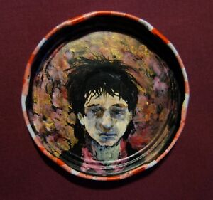 JOHNNY THUNDERS, Jam Jar Lid Portrait,  NYC Punk, Outsider Folk Art by PETER ORR