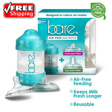 BARE Air-Free Feeding System Baby Bottle Perfe-Latch Easy-Latch Nipples 4 Oz