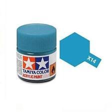 TAMIYA Colore acrilico AZZURRO LUCIDO pennello plastica metallo TAMIYA X-14 10ml