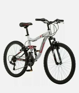 Mongoose Ledge 2.1 Mountain Bike 24 in. wheels 21 speeds boys Silver Not a Huffy