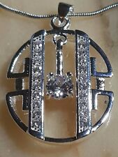 Diamond style white Topaz movable PENDENT AND CHAIN SILVER