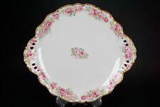 Beautiful Antique Elite Limoges Pink Roses Gold Trim Porcelain Handled Plate