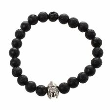 Men's Natural Black Lava Rock Stone Silver Helmet Bead Charm Bracelet G5L4 V9M7