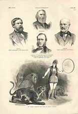 Lions Tigre Cirque d'Hiver de Paris / Lecroisey Canots de Sauvetage GRAVURE 1882