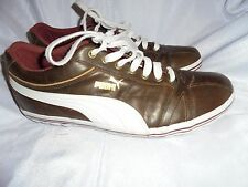 PUMA MEN'S BROWN BROWN LEATHER  LACE UP TRAINERS  SIZE UK 8 EU 42 VGC