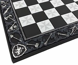 "17"" Medieval Times Crusades Maltese Cross Chess Board Black  W 1 5/8"" Squares"