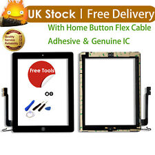 For iPad 4 A1458 A1459 A1460 Black Touch Screen Lens Digitizer with Home Button