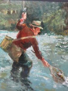 Salmon Trout Fly Fishing Oil Circa 1960 Vintage Painting Older?